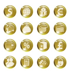 Set of icons of gold color on a subject bank vector