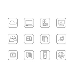 Set of Media and Technology Line Icons vector image