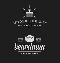 set of vintage barber shop badges vector image