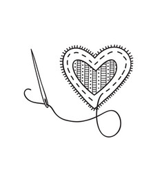 Sewing heart with needle vector