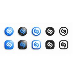 Shazam modern 3d and flat icons set vector