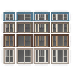 Single hung victorian style composite window set vector
