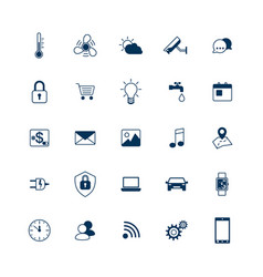 Smart house icons set internet things concept vector