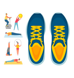 Sport sneakers and fitness sport and exercise vector