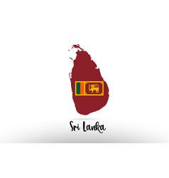 sri lanka country flag inside map contour design vector image
