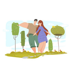 summer time season leisure happy couple walking vector image