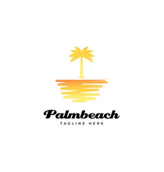 sunset with palm tree logo design vec vector image