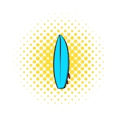 Surfboard icon comics style vector image