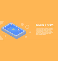 swimming in the pool banner isometric style vector image