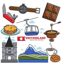 Switzerland travel sightseeing icons vector