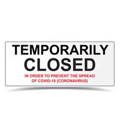Temporarily closed sign in order to prevent the vector