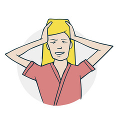 the woman has a headache vector image