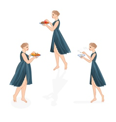 Three girls healthy and unhealthy life style vector image