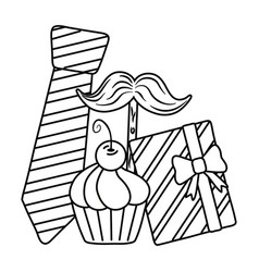 tie moustache gift and muffin black and white vector image