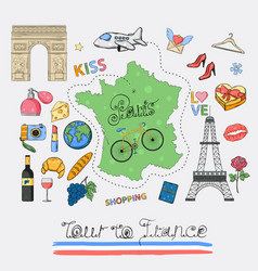 tour to france icon set vector image