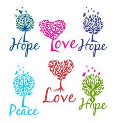 tree hope faith and love logo vector image