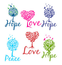 Tree of hope faith and love logo vector