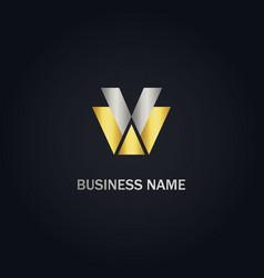 v w initial company logo vector image