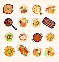various food dishes vector image vector image