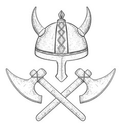 viking horned helmet and crossed axes hand drawn vector image