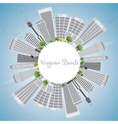 Virginia Beach Skyline with Gray Buildings vector