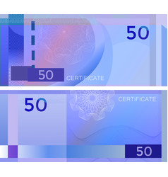 voucher template banknote 50 with guilloche vector image