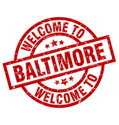 Welcome to baltimore red stamp vector