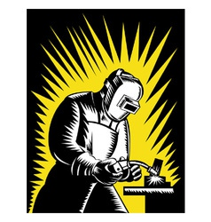 Welder Metal Worker Welding Retro vector image