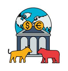 world bank bull bear dollar euro stock market vector image