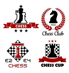 Chess cup club and tournament symbols vector image