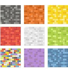 Color seamless patterns of brick walls vector image vector image