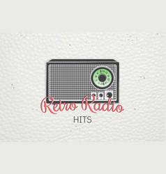 color sticker retro radio detailed elements old vector image vector image