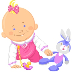 Cute smiling baby girl playing with a toy rabbit vector image vector image