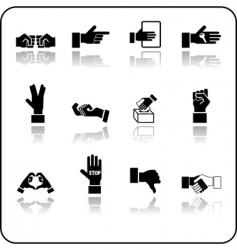 hands icon set vector image vector image