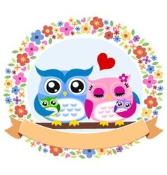 owl floral ribbon emblem vector image vector image