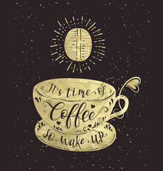 quote on coffee gold cup vector image