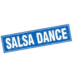 Salsa dance blue square grunge stamp on white vector
