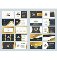 Set of creative golden business card design vector