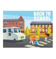 smiling children crossing street in front of bus vector image