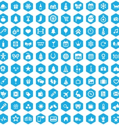 100 new year icons vector image