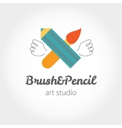 Creative modern sign with brush pen and wings vector image vector image