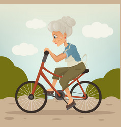 happy smiling grandmother character riding bike vector image
