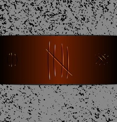 Scratches on brown leather background vector image