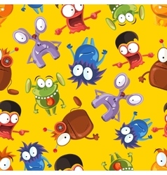 seamless pattern with cute monsters vector image