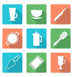 various flat style white dinnerware icons set vector image vector image