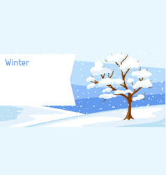 winter landscape with tree and snow seasonal vector image