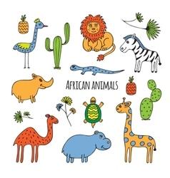 African animals sketch vector image vector image