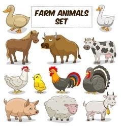 Cartoon farm animals set vector image