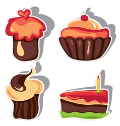 chocolate cupcakes vector image vector image