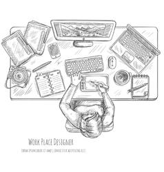 Designer Workplace Sketch vector image vector image
